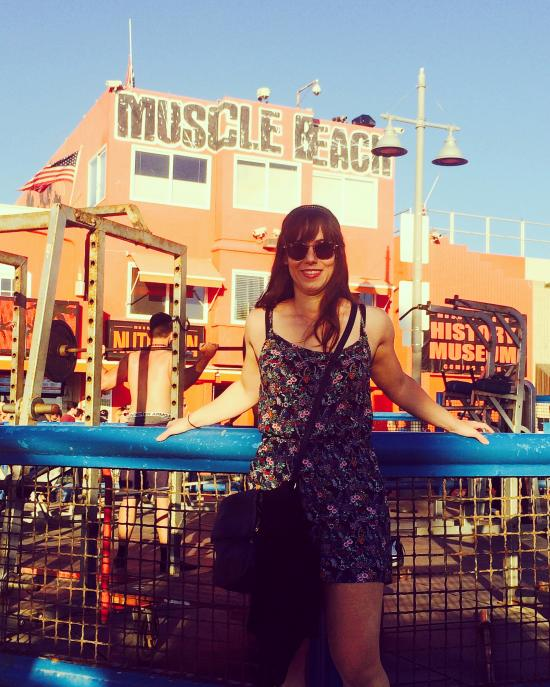 At the infamous Muscle Beach in Venice.