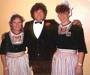 Don with 2 Dutch Ladies, one of them gave Don and Phil a pair of clogs each