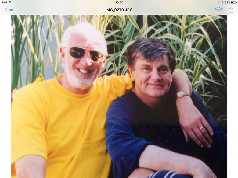 Phil and I circa 20 yrs ago at his Hollywood home. Phil has just cooked roast lamb lunch-- Jason-- Patti-- and  friends all enjoyed a wonderful day! Cheers--- Terry S.